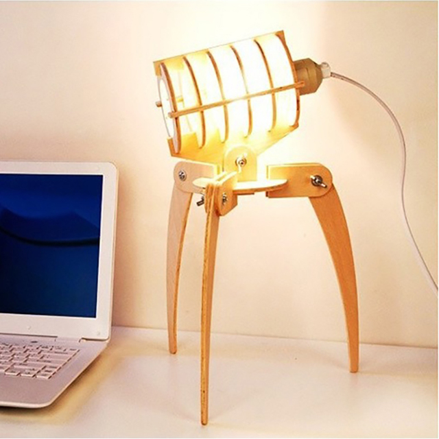 DIY E27 Wooden Alien Bug Desk Lamp Decorative Dimmer Robot Table Lamps  Child Kids Student Friend