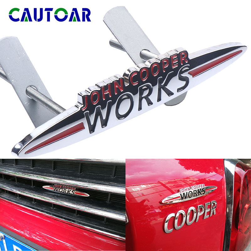 Adesivo emblema para frente da grade do carro, 3d cromado metal mini jcw emblema para mini cooper tryman jcw f55 f56 f60 r50 acessórios r56