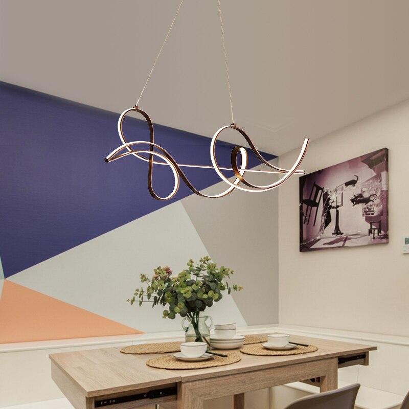 Image 3 - Acabamento de café lâmpada pendurada moderna led lustre para cama  sala jantar cozinha luminária suspensão pingente lumináriaLustres   -