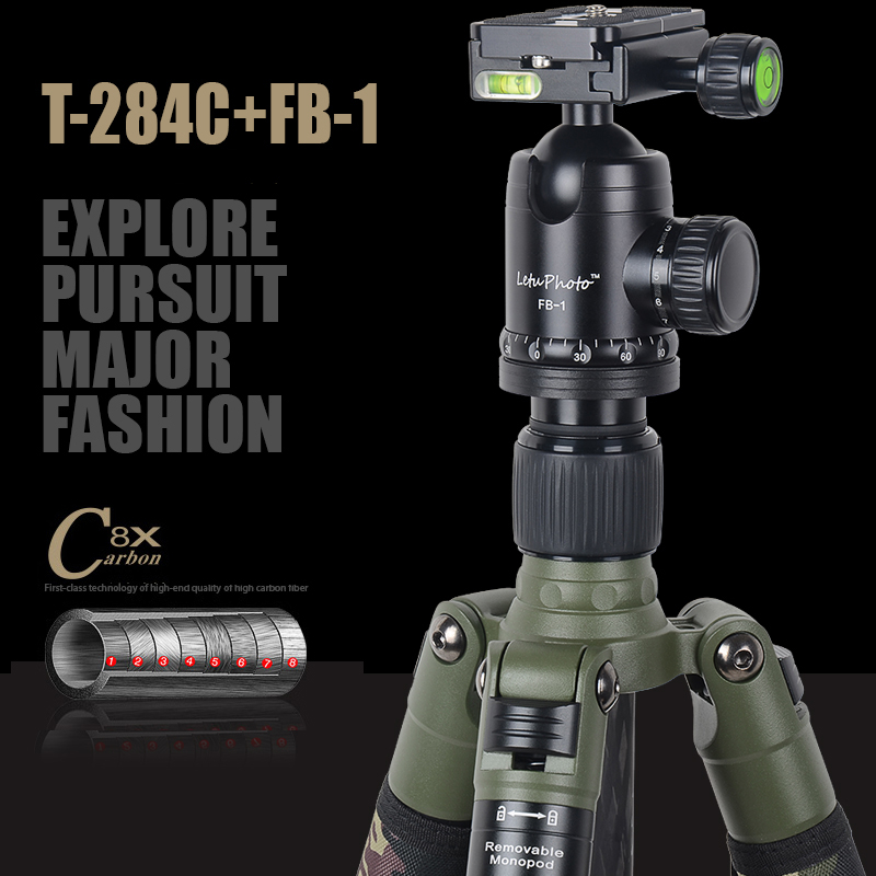 Xiletu T284C + FB1 profesional Multitube trípode y bola extraíble Monopod camuflaje trípode para cámara Digital DSLR