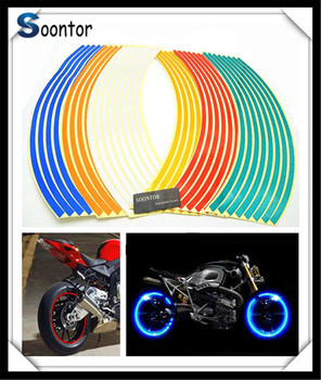 2018 New Strip Motorcycle Wheel Sticker Reflective Decal Rim Tape for BMW K1200S K1300 S/R/GT S1000RR HONDA CBR125R CRF250R image