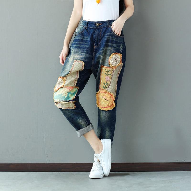 2018 Ricamo Dei Denim Retro Autunno Multi Delle Femminili Lettera Elastico Donne Jeans Del Vita Pantaloni Allentato Casual In w7d6q5Aq