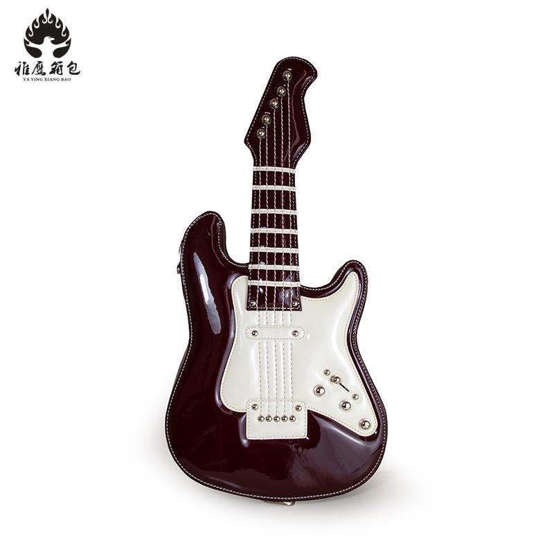 Personality Rock Style Black Guitar Shape Shoulder Bag Women Simulation Guitar Handbag Pu Leather Cross Body Bags 2018 New lz 042 cool style pu leather one shoulder bag handbag w rivets black