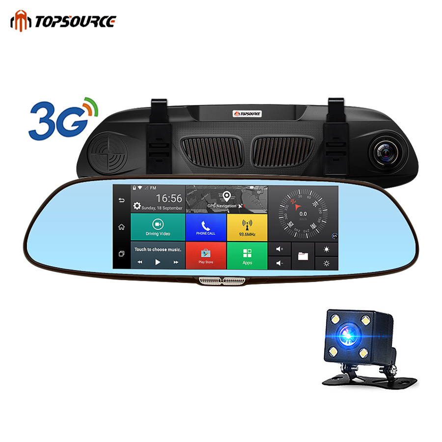 TOPSOURCE Car DVR Android 3G Bluetooth Dual Lens Rearview Mirror Video Recorder 7 HD 1080P Automobile Camera DVR Mirror RAM 1GB цена