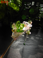 Colored glaze classical hair stick costume hair accessory hairpin Mirror Flower Green Lotus Flower Pink Crystal Hair Stick