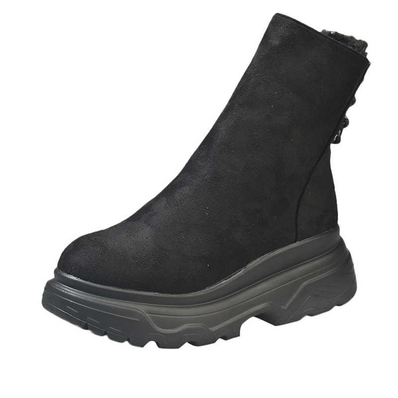 ใหม่แฟชั่นผู้หญิงรองเท้าผ้าใบสตรีรองเท้าแพลตฟอร์มส้นหนา Slip - On Toe สุภาพสตรีรองเท้าผ้าใบรองเท้า feminino 2018