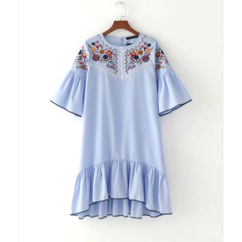 Vintage embroidered ruffle dress
