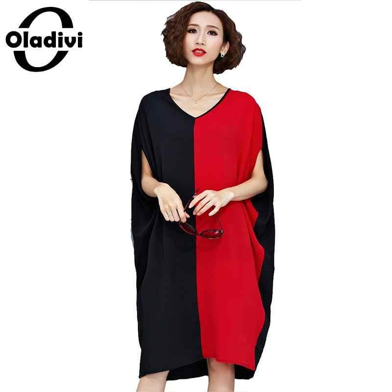 87326fa5616 Oladivi плюс размеры женская одежда модные женские лоскутное шифоновое  платье рукав