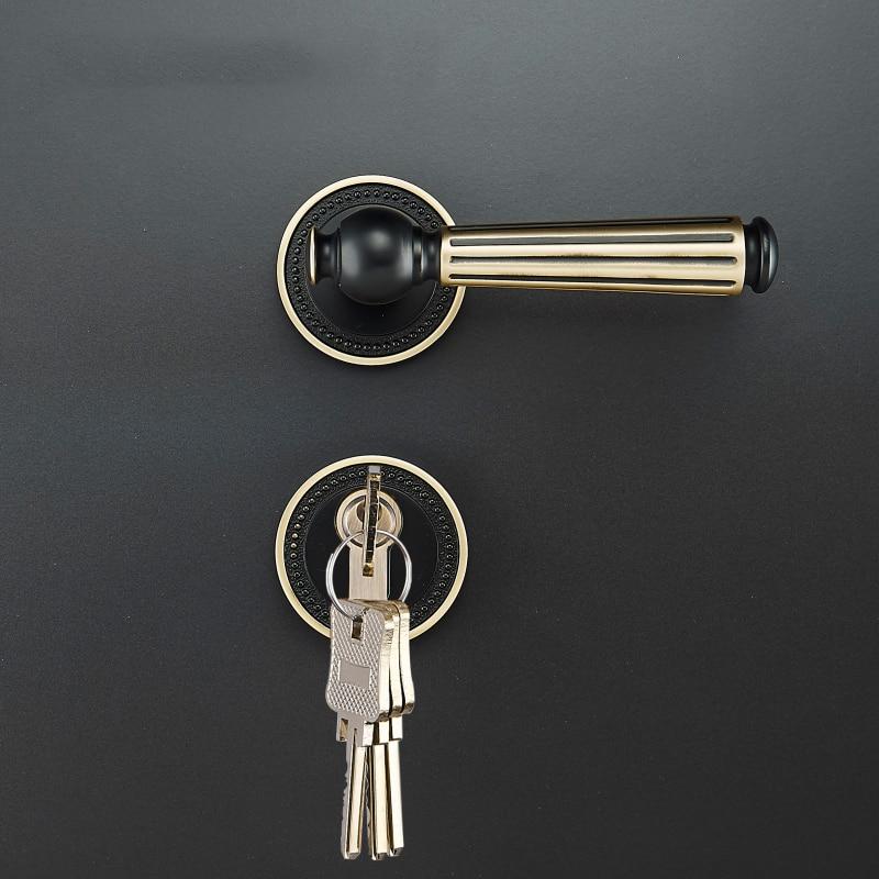 Simple golden brass interior door lock for 35 50mm doors European style door handle with key