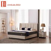 modern beige color top genuine leather ultra king size teak wood bed frame