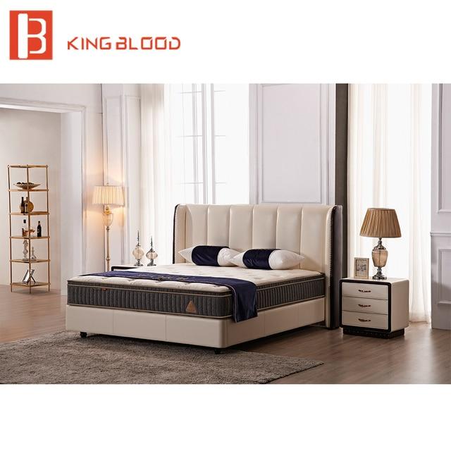 Modern Beige Color Top Genuine Leather Ultra King Size Teak Wood Bed
