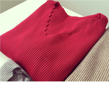 Fashion Autumn Women V-neck Long-sleeve Knitted Sweater Female Jumper Pullover Solid Basic Elasticity Women Clothing Pull Femme 4