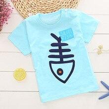 Летняя коллекция года, детские футболки из хлопка футболка для девочек и мальчиков с принтом медвежонка, зебры, рыбной косточки, Детские футболки, топы