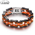 Hot sale SDA Orange black motorcycle chain bracelets, Top quality 316L stainless steel mens bracelets best Christmas gift YM079