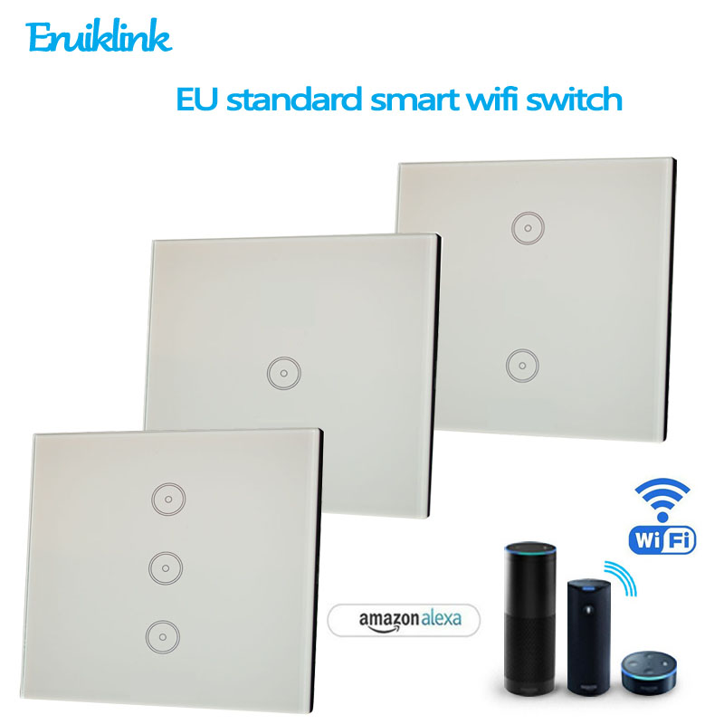 Smart Home WIFI Touch Light Switches EU 1/2/3 Gang Remote Control ...