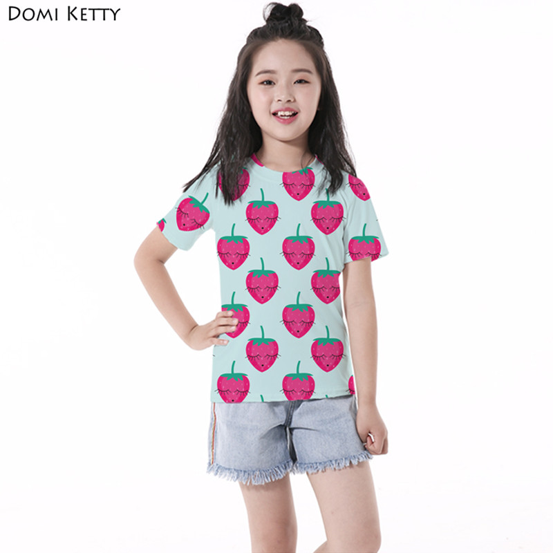 Domi Ketty girls cartoon t shirts printed shy strawberry cute children casual short sleeve tee kids new summer tops costume