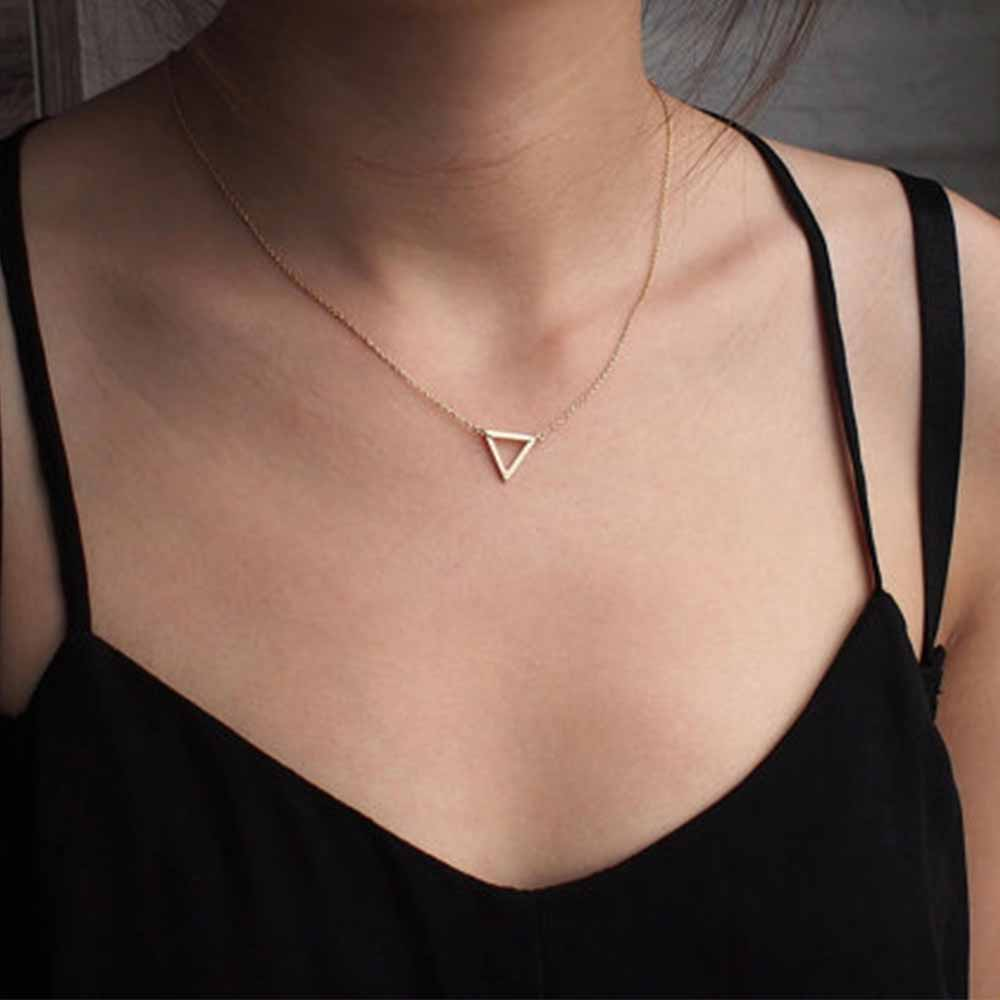Charm necklace metal triangle Pendant Necklaces ladies gift(China)