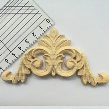 Floral Woodcarving Decal Wood Carved Corner Applique Frame Wall Doors Furniture Decorative Wooden Figurines Crafts