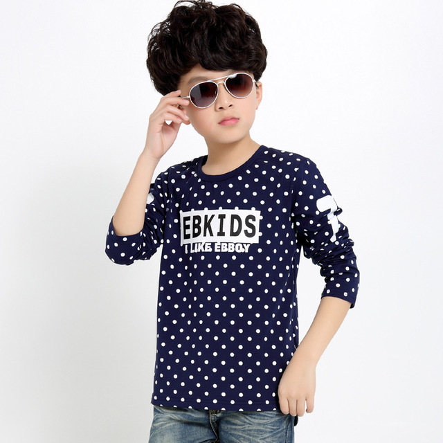 2017 Spring Boys T-shirts Long Sleeve Children Clothing Dot T Shirts For Boys Tops Kids Clothes 4 5 6 7 8 9 10 11 12 13 14 Years