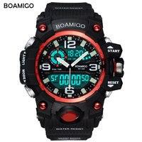 Men Sport Dual Display Watches BOAMIGO Brand LED Digital Watch Fashion Analog Quartz Watch Waterproof Wristwatch