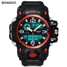 Deporte de los hombres de pantalla dual relojes boamigo marca de cuarzo analógico reloj de la manera led digital reloj resistente al agua reloj de pulsera reloj de regalo de color rojo