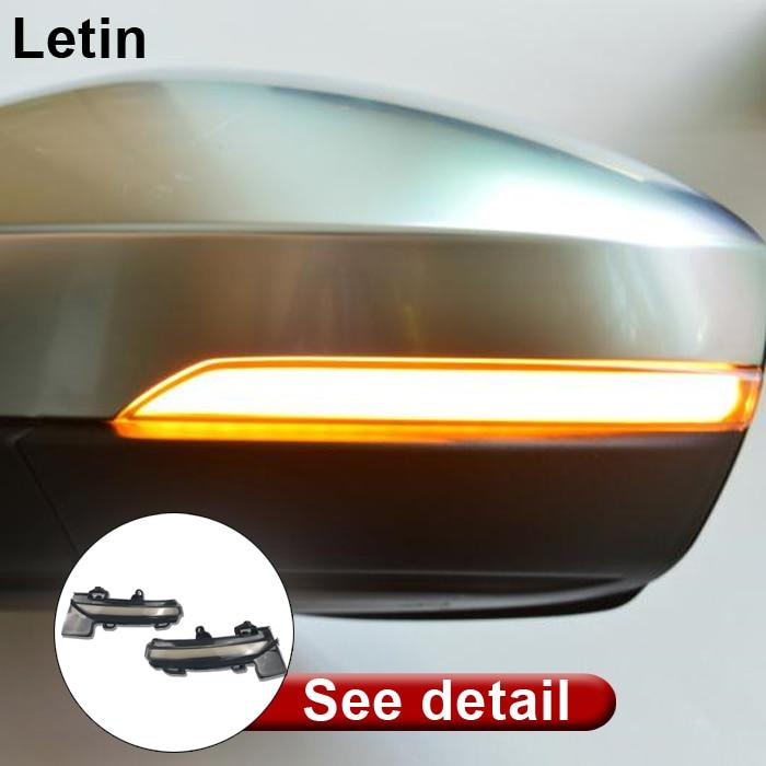 Letin For skoda octavia VW T Roc 2014 2018 Side rearview Mirror Dynamic blinker scroll Flowing