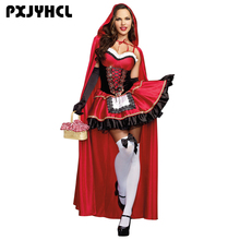 Sexy Little Red Riding Hood Costume for Women Fancy Adult Halloween Cosplay Dress Fantasia Carnival Fairy Tale Plus Size Girl irek adult plus size saloon girl costume classic halloween cosplay costume for carnival festivals luxury quality