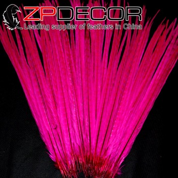 ZPDECOR 100 pieces/lot 50-55cm(20-22inch) Good Quality Hot Pink Dyed Ringneck Pheasant Tail Feathers Cheap Sale