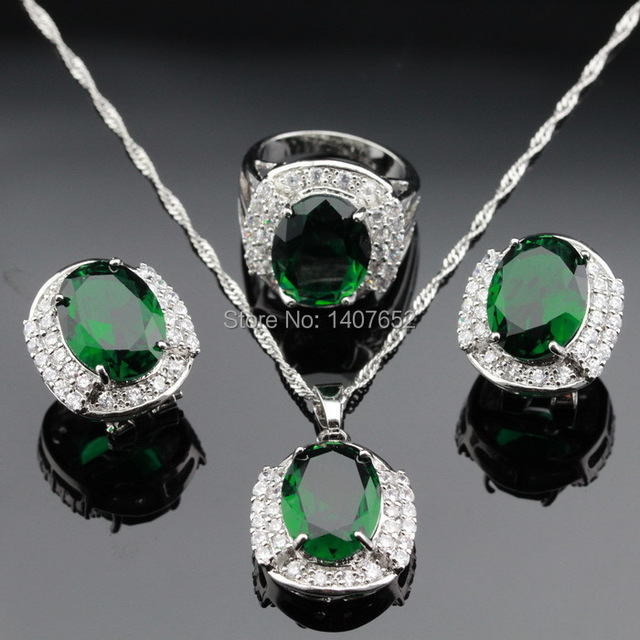 Green Created Emerlad White CZ Silver Color Jewelry Sets For Women Christmas Hoop Earrings Necklace Pendant Rings Free Box
