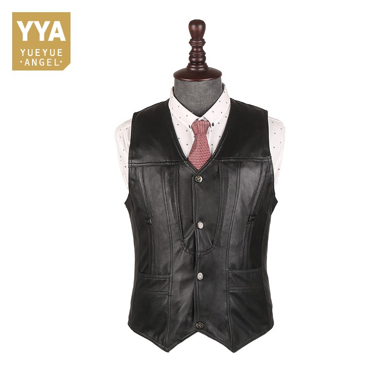 Top Brand Office Men Slim Fit Genuine Leather Vest Motorcycle Sleeveless Jacket Male Outside Pescaria Waistcoat Plus Size 5XL
