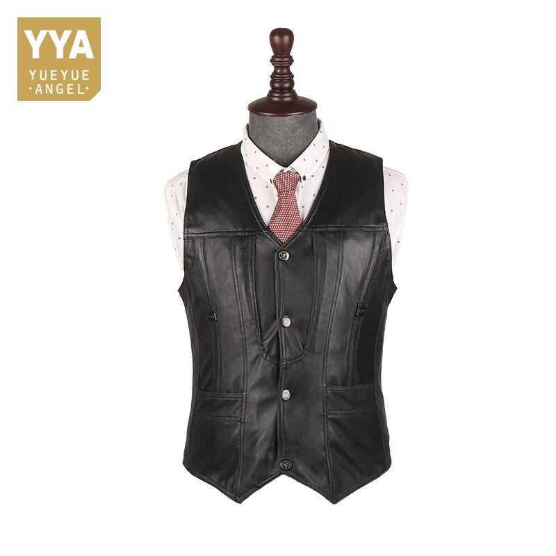 Top Brand Office Men Slim Fit Genuine Leather Vest Motorcycle Sleeveless Jacket Male Outside Pescaria Waistcoat Plus Size 5XL