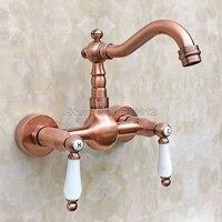 Antique Red Copper Kitchen Sink Swivel Spout Faucet Ceramic Handles Basin Mixer Taps 2 Hole Wall