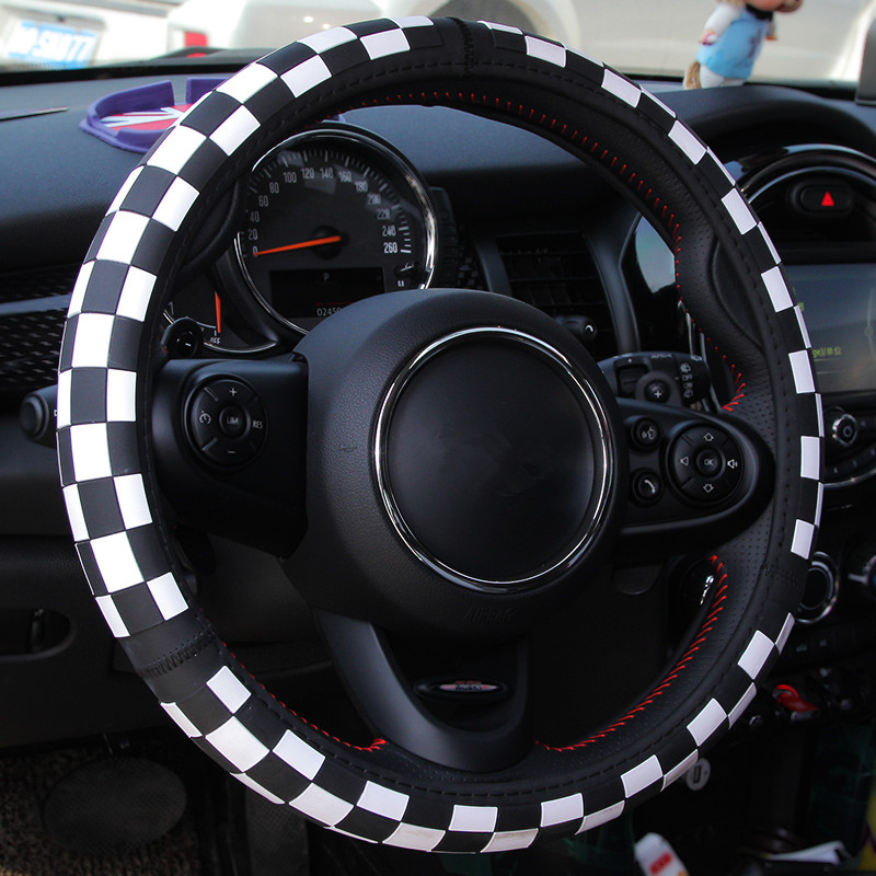 The Union Jack Checker Printed Car Steering Wheel Cover Case 38cm for BMW Mini Clubman Countryman Interior Styling