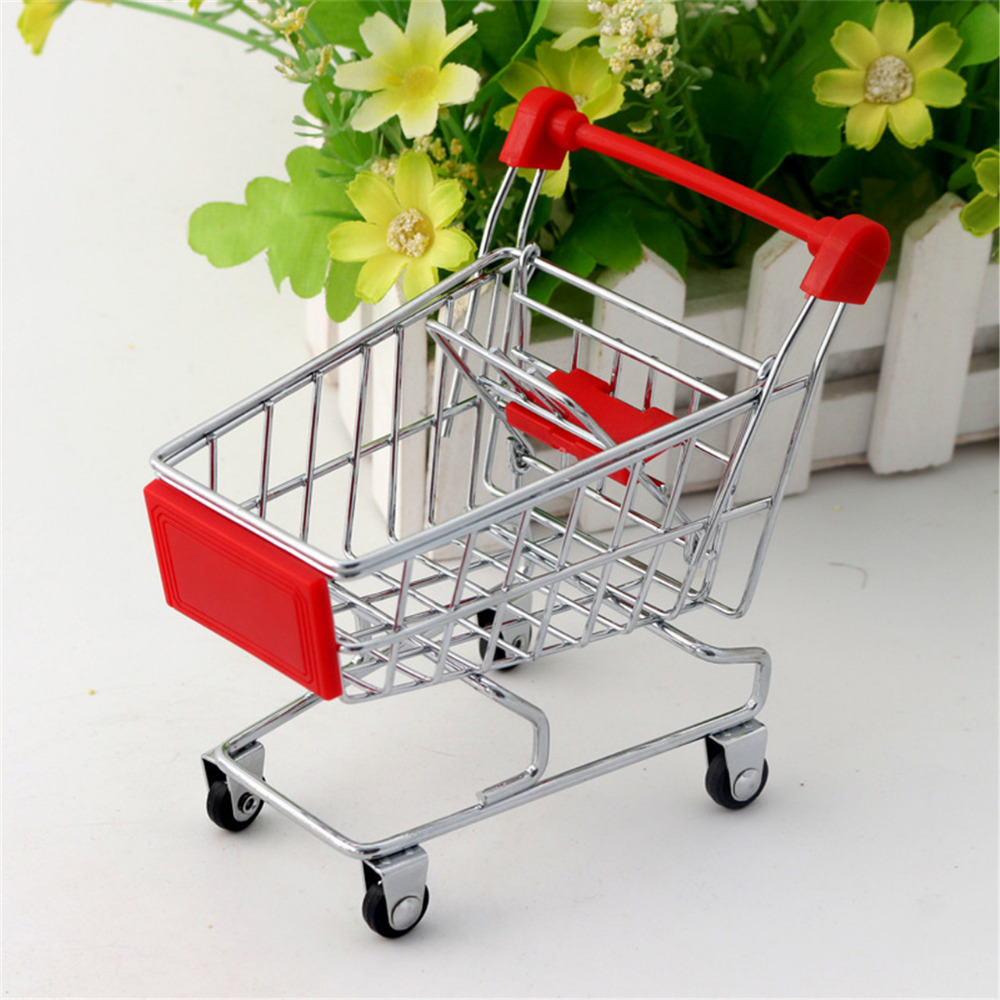 Mini Supermarket Shopping Cart Trolley Toy Creative Phone Pen Organizer Storage Box Collect Tools For Kids Children Toys Gifts