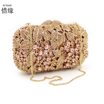 XIYUAN BRAND Luxury crystal clutch evening bag Gold grape flower party purse women wedding bridal handbag pouch soiree pochette