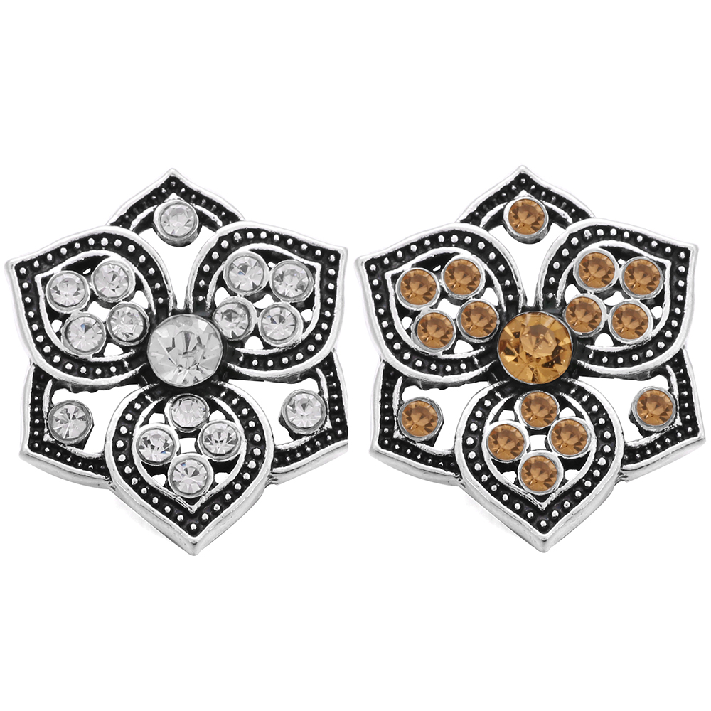 10pcs/lot New High Quality Snap Jewelry Rhinestone Crystal Flowers 18mm Snap Buttons fit Snap Bracelet For Women