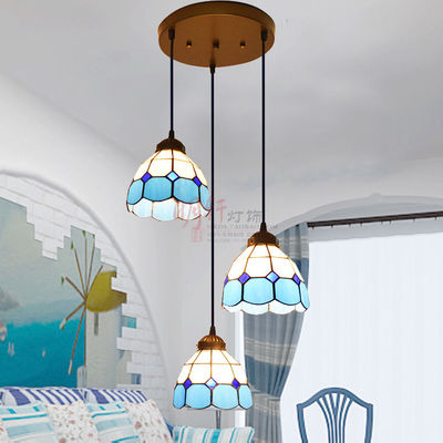 Tiffany Mediterranean style staircase stained glass pendant light bar restaurant droplight tiffany mediterranean style natural shell pendant lights art creative stained glass night light bar balcony home lighting pl657