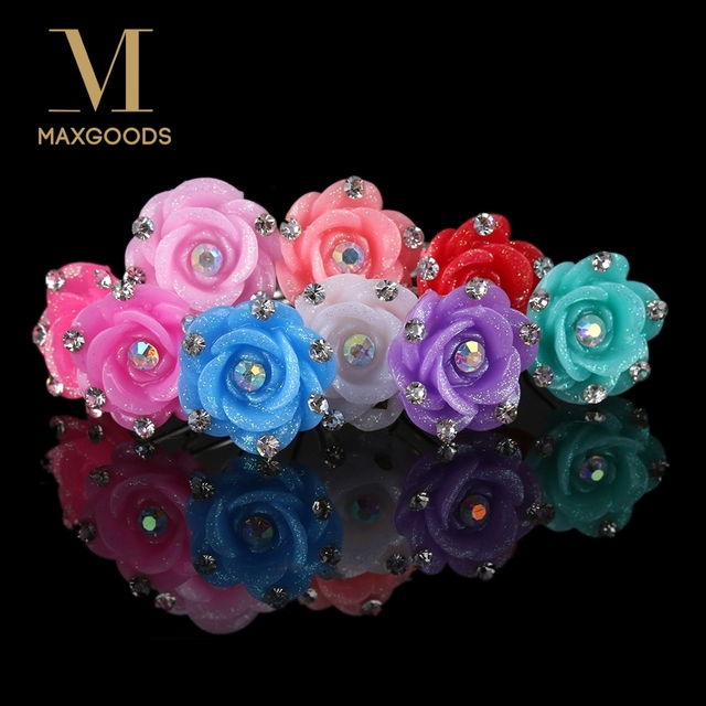 20pcs Crystal Rhinestone Rose Flower Hair Pin Clips Women Wedding Bridal Hair Jewelry Girls Hair Clips Wholesale