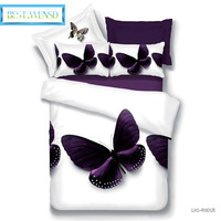 BEST.WENSD promotion quality Purple Butterfly comforter sets 3d white bedding bed comforter bed sheet home goods western decor