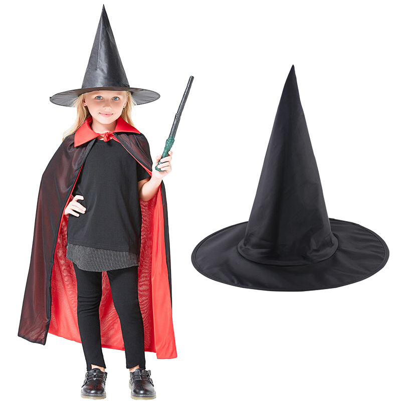 Magic Hat Halloween Steeple Cool Adult Women Halloween Black Oxford Witch Hat Costume Party Props Potters Cap