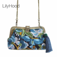 Orient Miao Embroidery Clutch Bag for Evening Small Clasp Frame Mini Floral Embroidery Purse for Qipao Cellphone Shoulder Bag