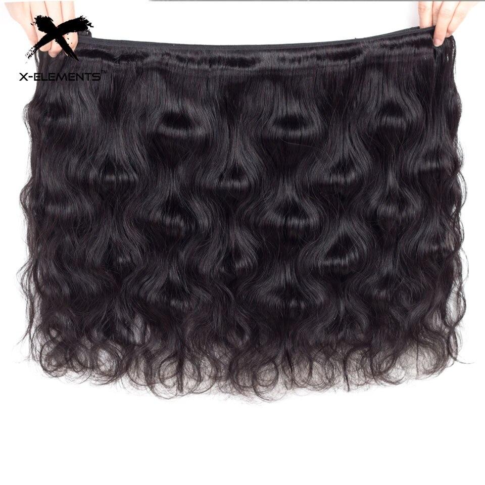 X-Elements Human Hair Body Wave Bundles Non-Remy Malaysian Hair - Mänskligt hår (svart) - Foto 5
