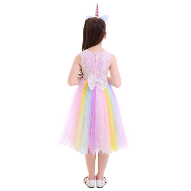 Set Unicorn Girl Flower Rainbow Dress