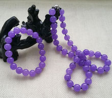 Fashion Beautiful 10MM Lavender Purple Jadeite Necklace 20inch & Bracelet Jewelry S