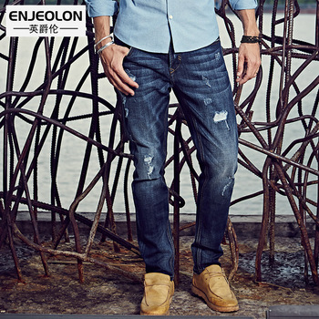 Enjeolon brand top quality long full trousers jeans men cotton clothing Slim Straight jeans males Causal hole Pants NZ012