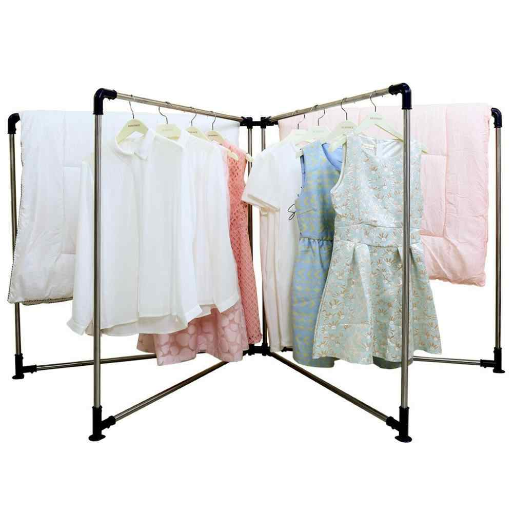 Indoor Outdoor Home New Blue 1 Pcs 4 Fold Folding Clothes Horse Airer Laundry Rack Washing Drying Stable Clothes hanger  DQ0533