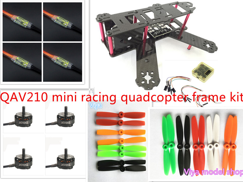 DIY mini FPV QAV210/ZMR210 cross race quadcopter pure carbon fiber frame kit CC3D+EMAX 2204II KV2300 motor+BL12A ESC+5045propell new qav r 220 frame quadcopter pure carbon frame 4 2 2mm d2204 2300kv cc3d naze32 rev6 emax bl12a esc for diy fpv mini drone