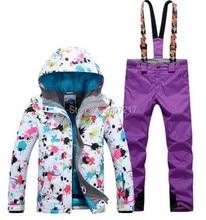 2017 New arrival womens ski suit female skiing snowboarding suit women flower printing ski jacket and violet suspender ski pants