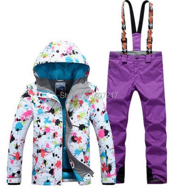 2017 nouveauté femme ski costume femme ski snowboard costume femmes fleur impression ski veste et violet jarretelle ski pantalon