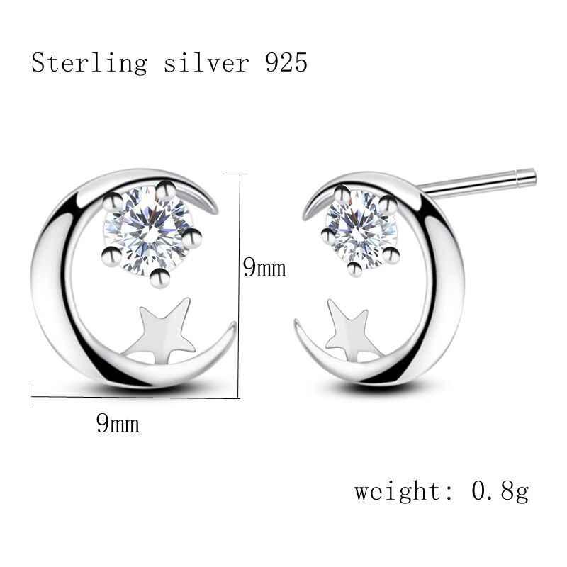 Thực Chất Liệu Bạc Sterling 925 Bông Tai Giáng Sinh Mặt Trăng Và Ngôi Sao Bông tai Trăng Sao Earing Pendientes Plata De Ley 925 Mujer